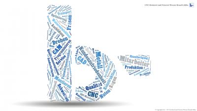 Desktophintergrund, der unser Logo als Wordcloud zeigt
