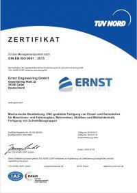Bild des Zertifikates DIN EN ISO 9001:2015