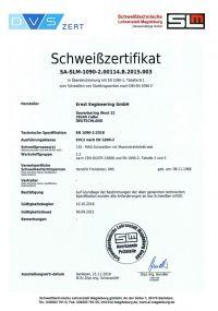 Bild des Zertifikates EN 1090-1:2009+A1:2011